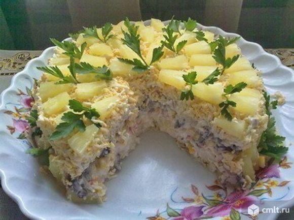 Салат ананасы с курицей рецепт